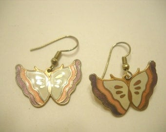 Vintage Cloisonne Butterfly Pierced Earrings (5507)
