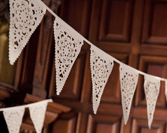 Perfect Wedding bunting, ivory lace banner, romantic backyard decoration, garland