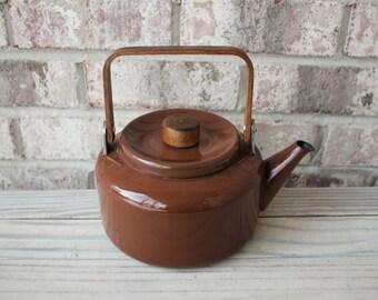 Danish mid century modern brown enamel teapot with wooden handle