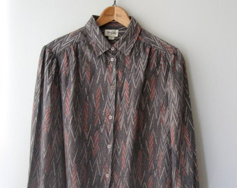 Abstract Speckled 80s Blouse