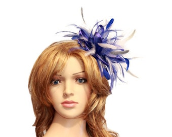 Royal Blue and Silver Feather Fascinator Hat - wedding, ladies day - choose any colour feathers and satin