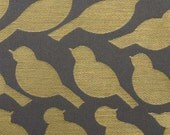 ON SALE - Bird Fabric - Grey Yellow Upholstery Fabric by the Yard - Modern Animal Fabric - Upholstery Fabrics on Sale