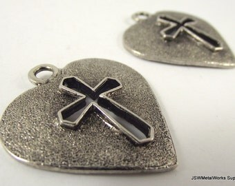 Antiqued Silver Heart and Cross Pendant, Large Silver Heart Charm, 35 x 34 mm, 2 Pieces