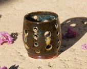 Ancient Jasper Luminary, candle holder- Hand Thrown stoneware pottery - muddywaterscc