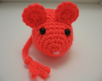 Cat Toy - Crochet Mouse - Catnip Filled Neon Coral Mouse