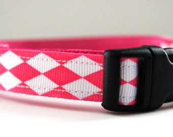 Last Chance! Spring Clearance Sale! Pink and White Diamond Dog Collar Adjustable Sizes (XS, S, M)