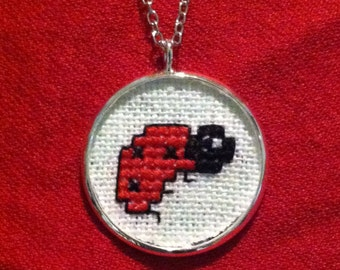 Ladybug cross stitch necklace