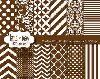 digital scrapbook papers - brown and white patterns - variety pack - INSTANT DOWNLOAD