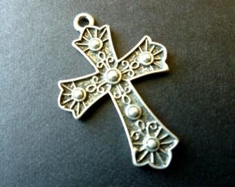 Silvertone Cross Fabulous Faux Marcasites & Fleur di Lis Focal Pendant