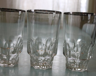 RARE set of 6Vintage Mid Century, stacking, silver stripe glasses, highball, tall cooler glasses, continental can co