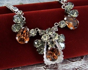 Vintage Statement Rhinestone Necklace Topaz and Grey Stones Silvertone Metal