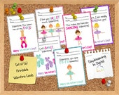 INSTANT DOWNLOAD -Digital File - Ballerina Dance Valentine Cards- Printable