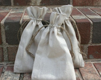 10 Large Natural Linen Bags Pouches (6 by 10 inch) for Jewelry, Earrings, Rings, Pendants, Gift Bag