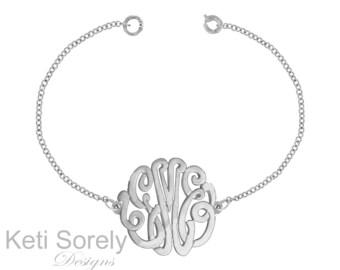 10K White Gold  Monogram Bracelet - or  Monogram Anklet (Order Any Initials)