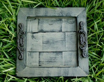 Decorative / Serving Tray - Sage Green Distressed with Black Glaze Topcoat