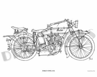 INDIAN V-TWIN 1914 -Original Handmade Drawing Print, 11.5x16 in. (29x41 cm), Limited Edition print, cool gift