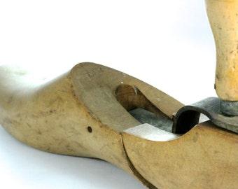 Rustic Industrial Cobbler's Adjustable Hinged Large Wooden Shoe Form