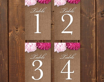 ChicNShabby, Printable Wedding Table Numbers, 1-20, Instant Download