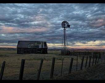 Fine Art Print:  Fabulous Sky Barn and Windmill 16x10 Wall Decor of a Beautiful Sunset, Clouds