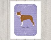 Red Brown Boston Terrier Breed Custom Dog Art Print