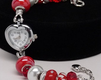 CRYSTAL CRIMSON WATCH:  European Style Large Hole Bead Red Watch Bracelet