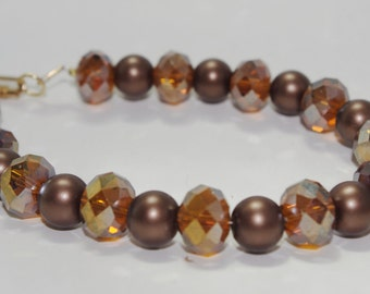 Handmade Bead Bracelet: Cola Brown Czech Fire Polished Crystal & Brown Glass Pearl...So Sparkly