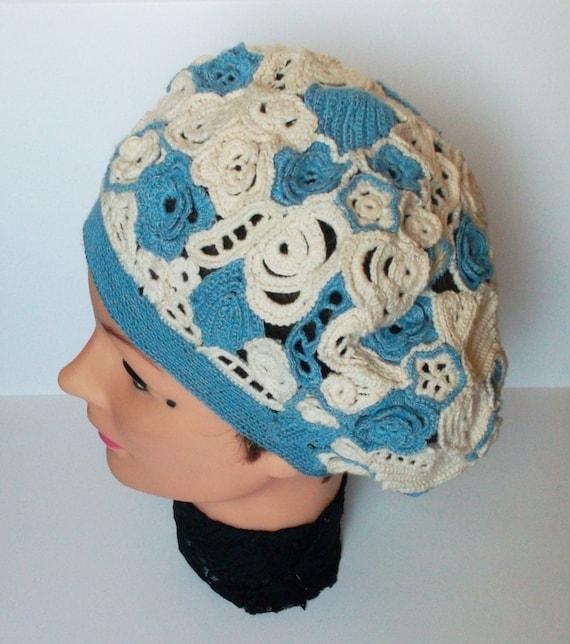 Irish Beret Knitting Pattern : Crochet Beret Vintage Style Irish Crochet Lace Blue Adult Size