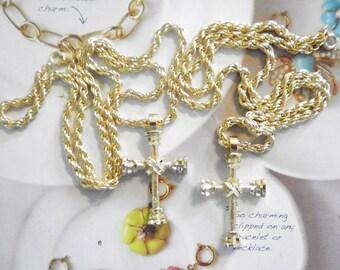 "2 Goldplated Diamond Cut Crosses on 18"" Chain"