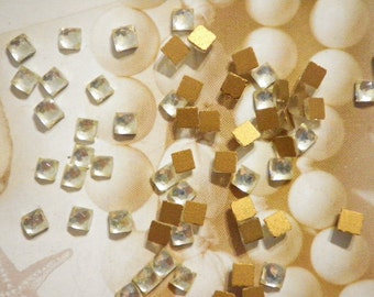 48 Glass Crystal Faceted 4mm Square Stones