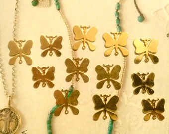 12 Goldplated Butterfly Pendants