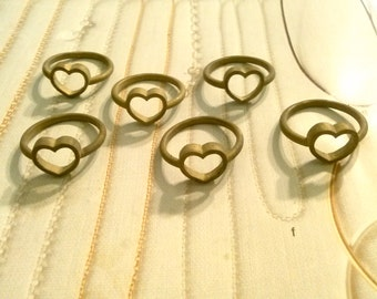 6 Brass Heart Ring Charms