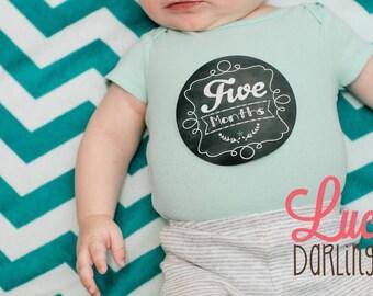 Chalkboard Theme Stickers, Monthly Baby Stickers - Gender Neutral - Chalkboard - Months 1-12