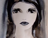 Portrait Woman Portrait Painting Acrylic Paint Portrait Ink Face Woman Portrait Decor Grey Black Portrait Wall Art Portrait Fine Art Girl