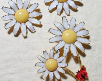 Vintage Signed Weiss Dandelion Clip-On Earrings and Brooch Set
