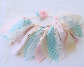 Pink Blue fabric tutu with matching headband