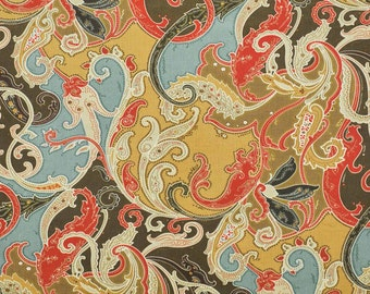CLARENCE HOUSE ESMERALDA Paisley Linen Fabric 10 yards Antique Multi