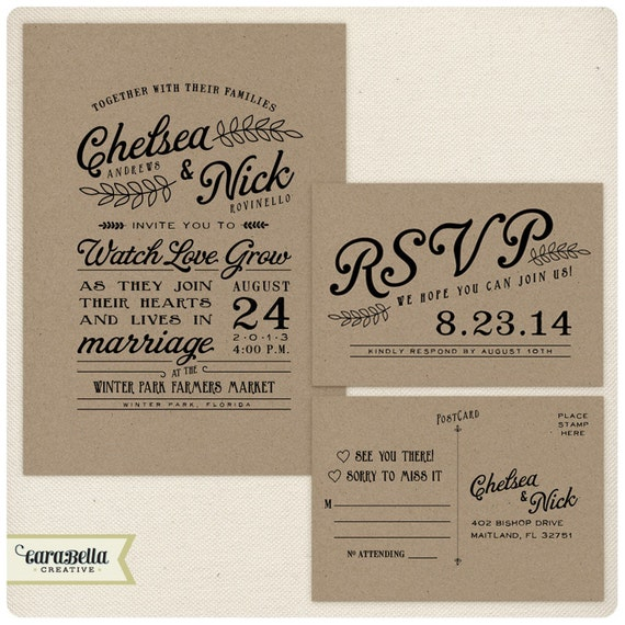 Rustic Kraft Wedding Invitation And RSVP Postcard