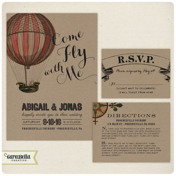 Items Similar To Vintage Hot Air Balloon Wedding