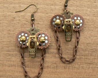 Steampunk Owl Zipper Earrings - Gear Earrings - Dangle Earrings - Steampunk Jewelry