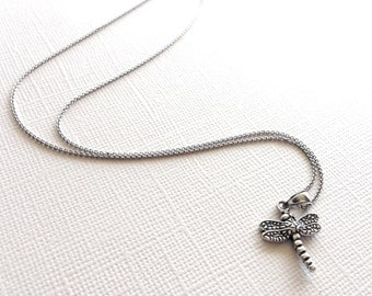 Tiny Dragonfly Necklace in Sterling Silver