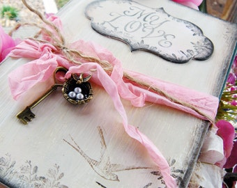 Unique elegant Custom Wedding Guest Book in shabby chic style Pink