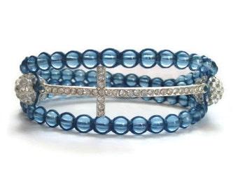 Sideways Cross Bracelet, Fish Bracelet, Wrap Bracelet, Bead Bracelet, Magnetic Bracelet