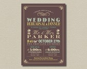 Printable Wedding Rehearsal and Dinner Invitation - Vintage Poster design in Brown, Yellow and Mint (RD16)