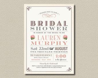 Printable Bridal Shower Invitation - Vintage Hydrangea Bridal Shower Invite (BR106)