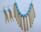 Bib Statement Necklace-Bib Necklace-Fringe-Chunky Necklace- Statement Necklace-One of a Kind-Hand Made-Designs by Stalinda