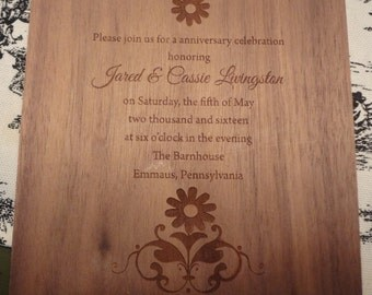 5x5 wood veneer engraved Invitation