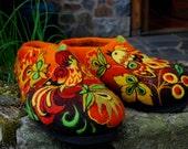 Felted Slippers- Fairy Red Birds size EU40 - IrinaU