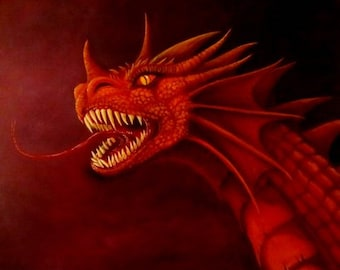 "Dragon Art - Fantasy - Red Dragon - Giclee Canvas Print - 16"" x 20"" - ""Zzorok Roars"""