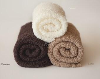 Newborn Knit Stretch Wrap, Newborn Photo Prop, Baby Stretch Wrap, Textured Newborn Wrap, RTS - Espresso, Cream, Latte