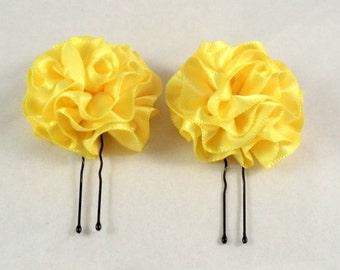 Hair Pins Lemon Yellow Satin Ruffle Flower Women Teens Girls Wedding Bridal Bridesmaids Flowergirls